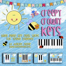 Creepy Crawly Keys: Giant Piano Key Flash Cards for Young Students (8.5×11 PDF)