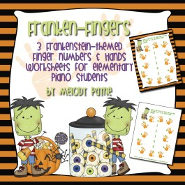 Franken-Fingers: Frankenstein-Themed Finger Numbers & Hands Worksheets for Elementary Piano Students