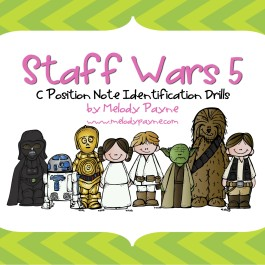 Staff Wars 5: C Position Note Drills for Elementary Students (PDF)