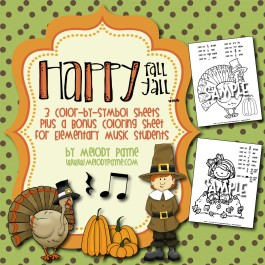 """Happy Fall Y'all"" Color-By-Symbol Sheets for Elementary Music Students"