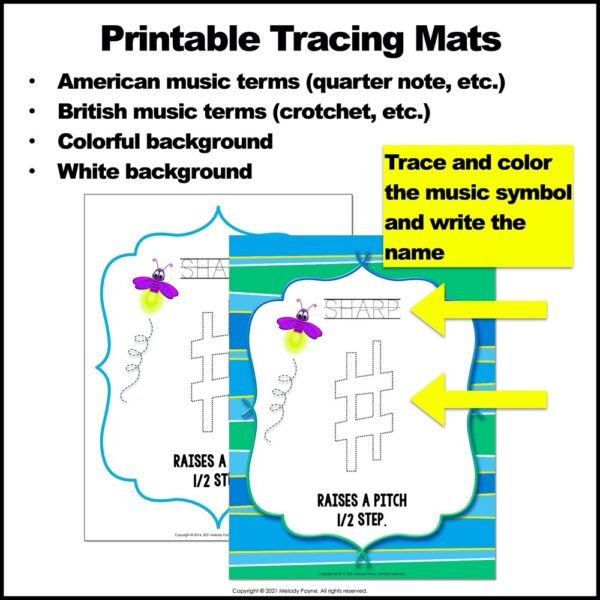 Music Symbol Play Dough Mats and Tracing Mats