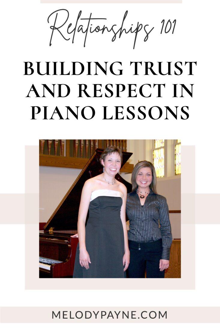 Piano teacher and student at her senior piano recital