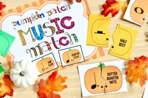 Music Symbol Matching Game for Elementary Students: Pumpkin Patch Music Match