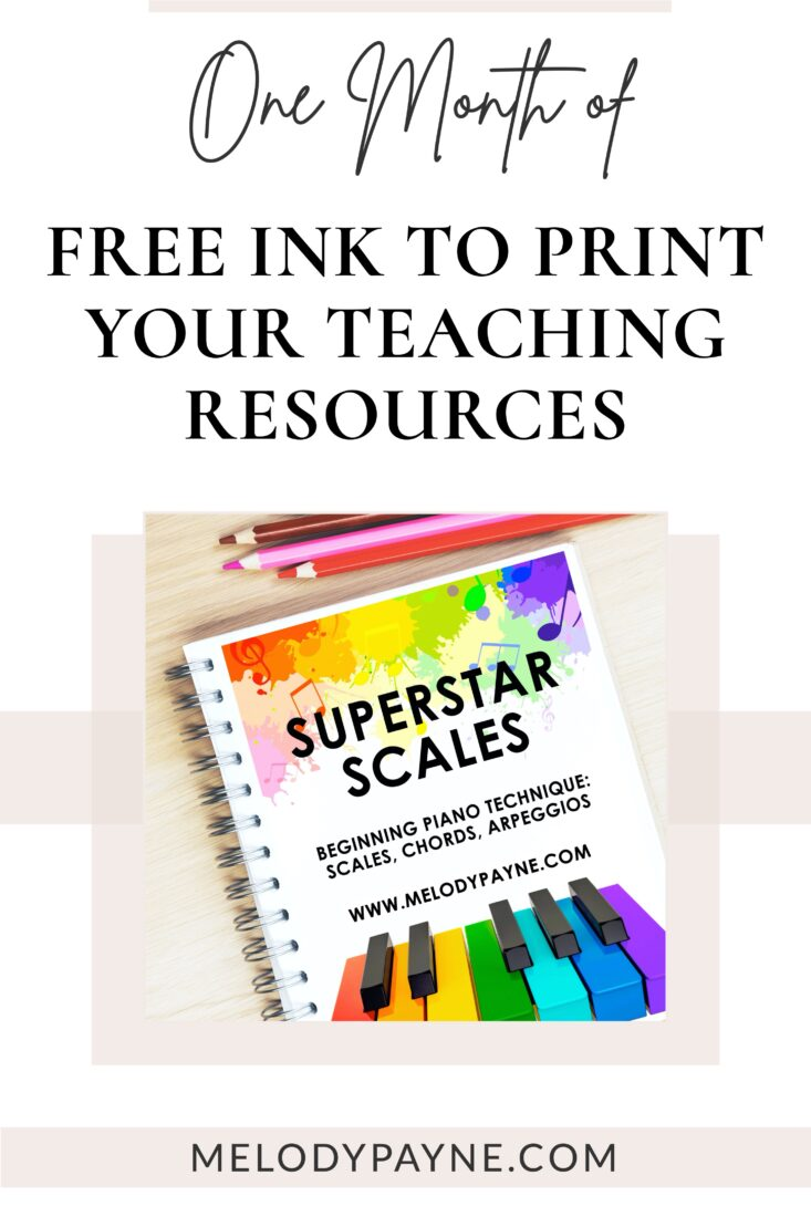 Colorful piano teaching resources and colored pencils on a desk
