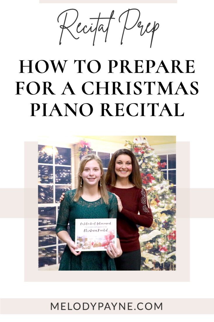 Piano teacher and piano student at the Christmas recital