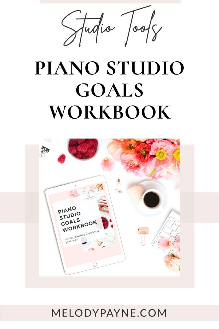 Piano studio goals workbook on iPad