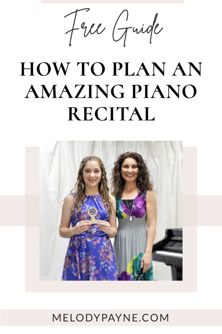 Piano teacher and student at the piano recital