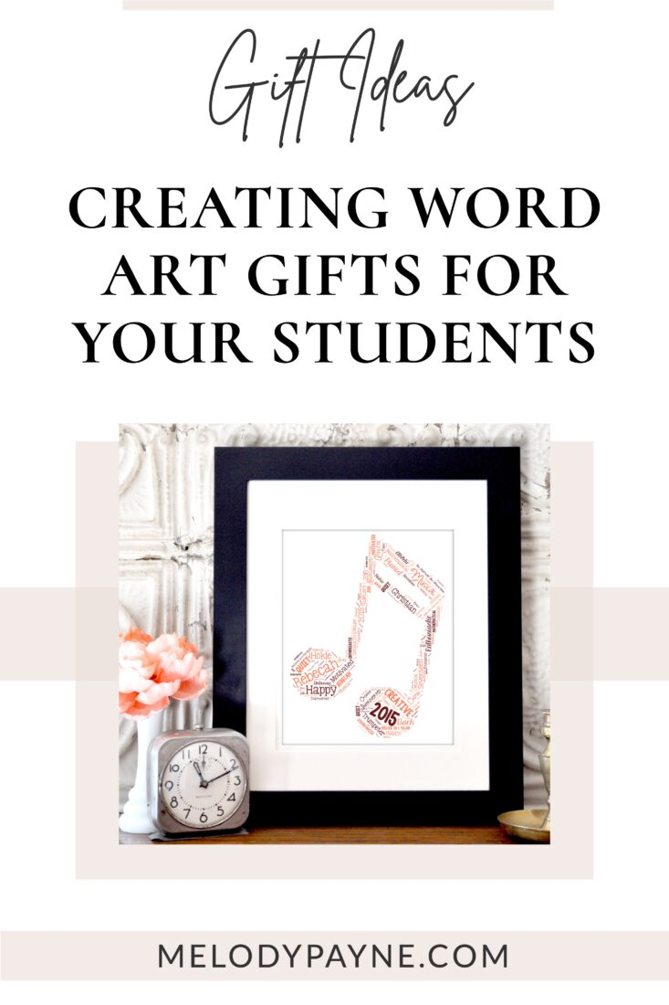 Frramed word art gift for piano student