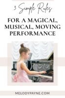 Little girl performing on stage in a piano recital