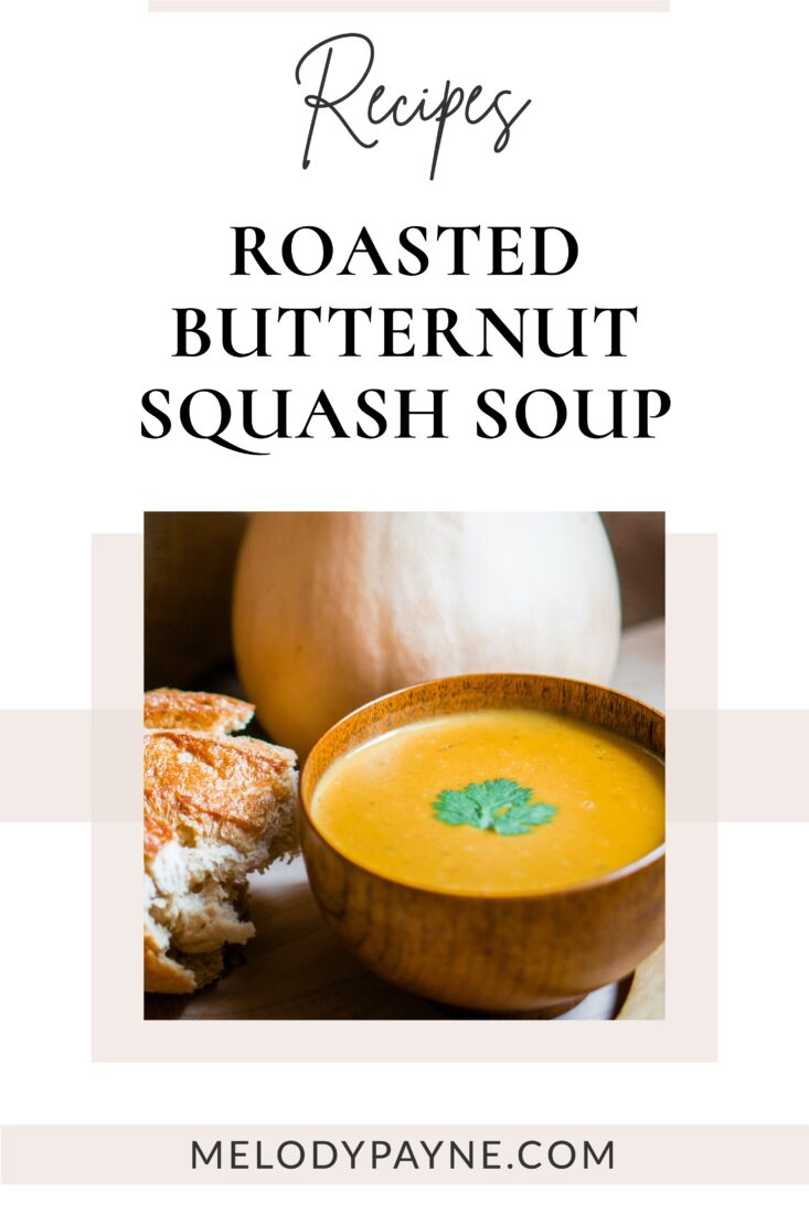 Bowl of Roasted Butternut Squash, Sweet Potato, & Carrot Soup and fresh bread
