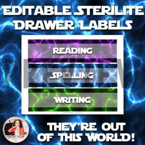 Editable Sterilite Drawer Labels: Galaxy, Space, Universe Theme