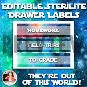 Watercolor Sterilite Drawer Labels: Galaxy, Space, Universe Theme {EDITABLE}