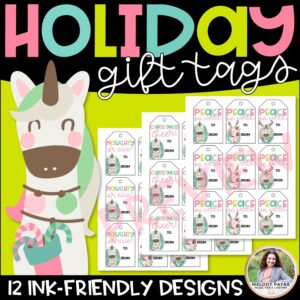 Holiday Gift Tags with Magical Christmas Unicorns