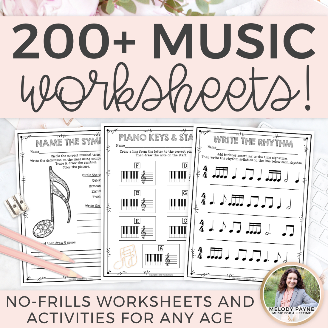 Music Theory Worksheets: Over 200 Print and Go, No Frills, No Prep Pages!