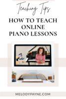 Piano teacher Melody Payne teaching an online piano lesson