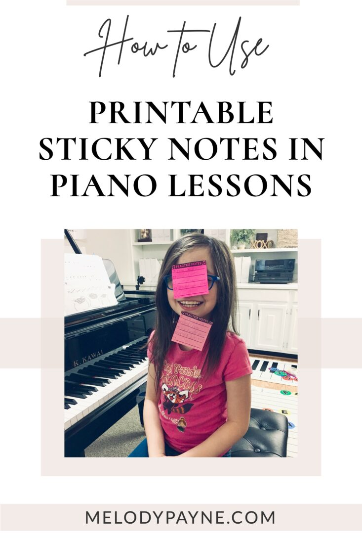 Piano student using sticky notes