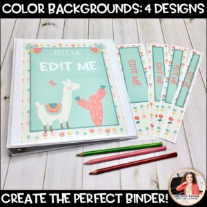 Llama & Cactus Binder Covers and Spines {EDITABLE}
