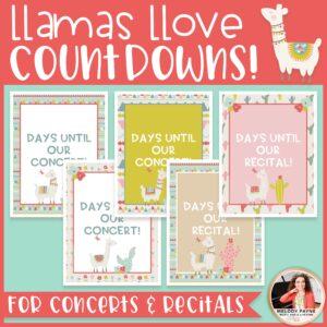 Concert & Recital Countdown Posters {Llama & Cactus Music Decor}