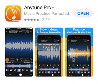 Screenshots from the AnyTune Pro app