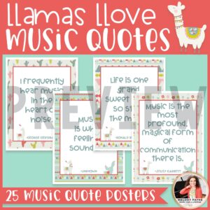 Llamas & Cacti Music Quote Posters {Music Class Decor}