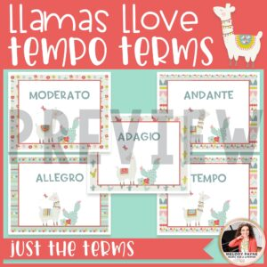 Llamas & Cacti Tempo Terms & Definitions Posters {Music Class Decor}