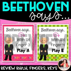 Beginning Piano Game: Beethoven Says! RH, LH, Finger Numbers, Piano Keys