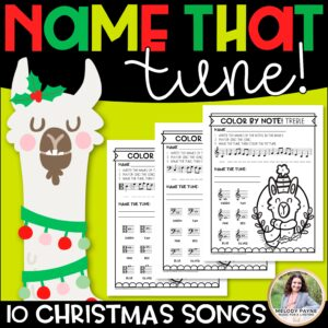 Color by Music Notes: Christmas Llama Music Worksheets