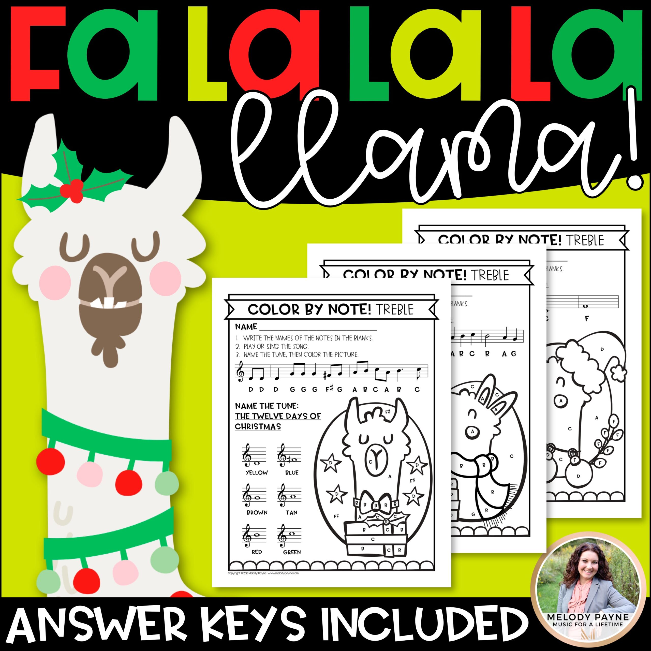 Color by Music Notes: Christmas Llama Music Worksheets ...