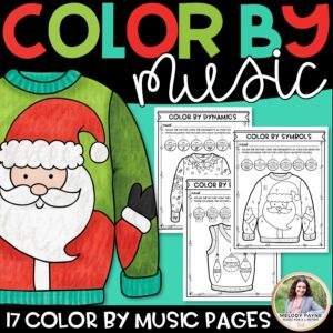 Color by Music: Ugly Christmas Sweaters! Notes, Symbols, Rhythms, & More!