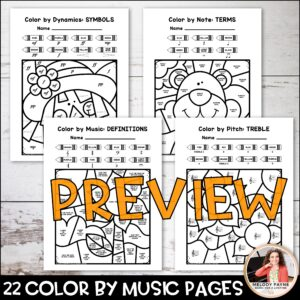 Color by Music: Fall & Autumn (Notes, Symbols, Rhythms, & More!)