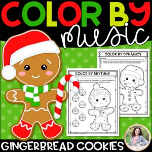 Color by Music: Gingerbread Cookies! Notes, Symbols, Rhythms, & More!