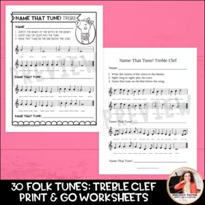 Name That Folk Tune! Music Worksheets: Treble and Bass Clef