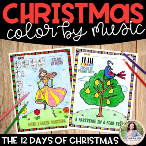 Music Coloring Sheets: 12 Days of Christmas Color by Music Symbol