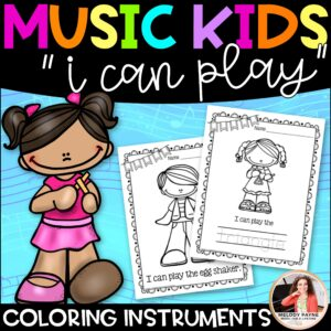 "Musical Instrument Coloring Sheets: Music Kids ""I Can Play"""