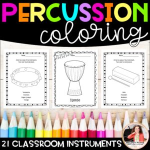 Instrument Coloring Sheets & Worksheets: Classroom Percussion