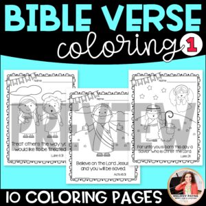 Bible Verse Coloring Sheets Set 1: Coloring, Handwriting, Multiple Choice
