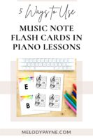 Picture of music note flash cards on a desk