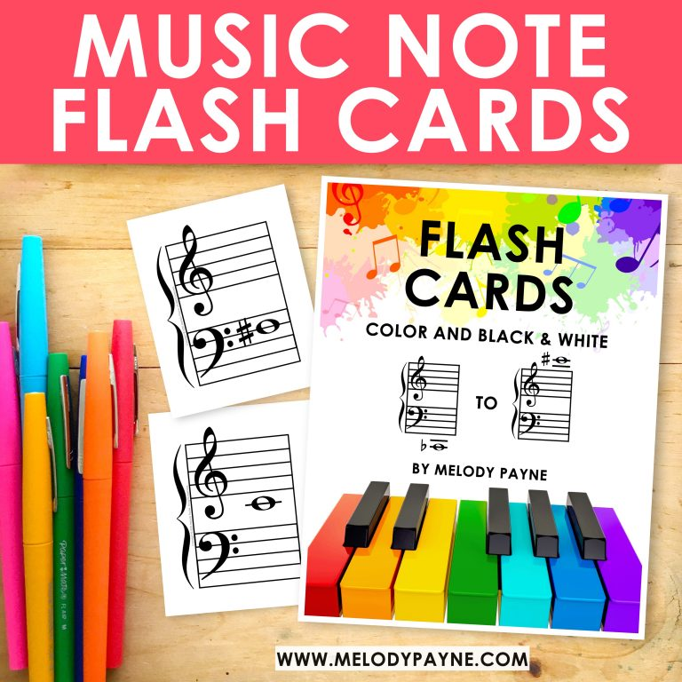 Music note flash cards plus sharps and flats