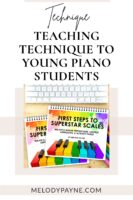 Beginning piano books on a desk