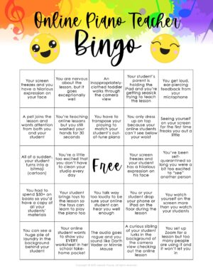 Online Piano Teacher BINGO