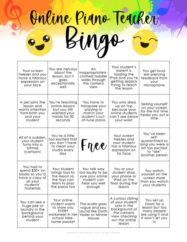 Online Piano Teacher BINGO by Melody Payne