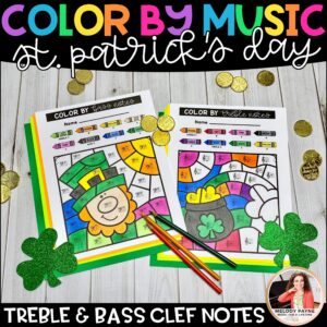 Treble and Bass Clef Color by Music for St. Patrick's Day