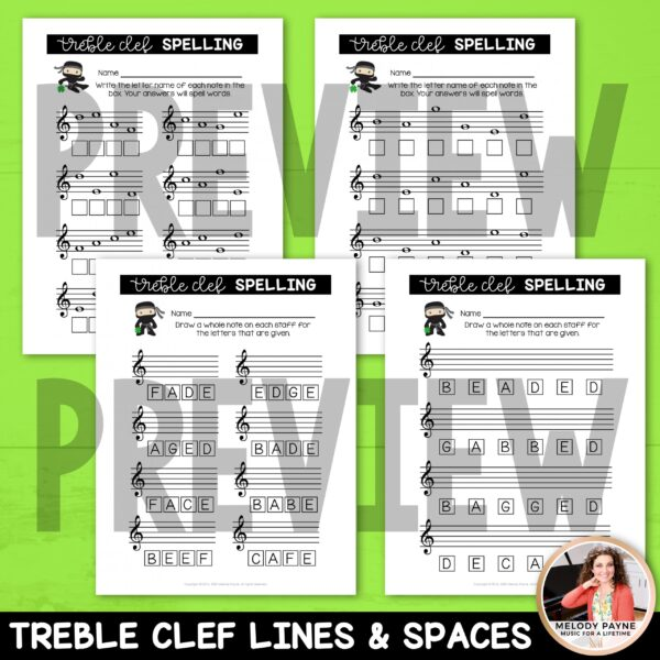 Treble & Bass Clef Worksheets for St. Patrick's Day