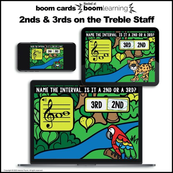2nds & 3rds on the treble staff BOOM Cards by Melody Payne