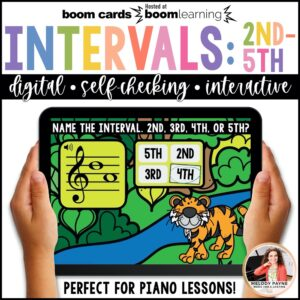 BOOM Cards: 2nds, 3rds, 4ths, & 5ths on the Treble & Bass Staff by Melody Payne