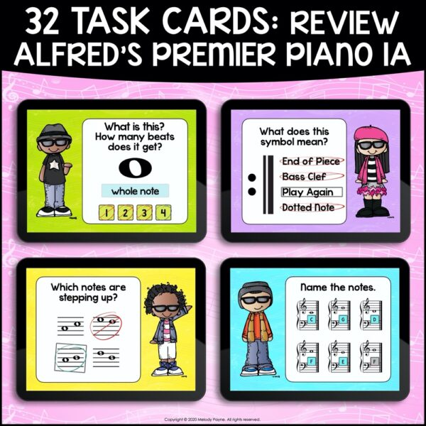 Beginning Piano Lesson Review Set 1 for BOOM Cards by Melody Payne
