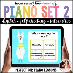 Beginning Piano Lesson Review for BOOM Cards: Set 2