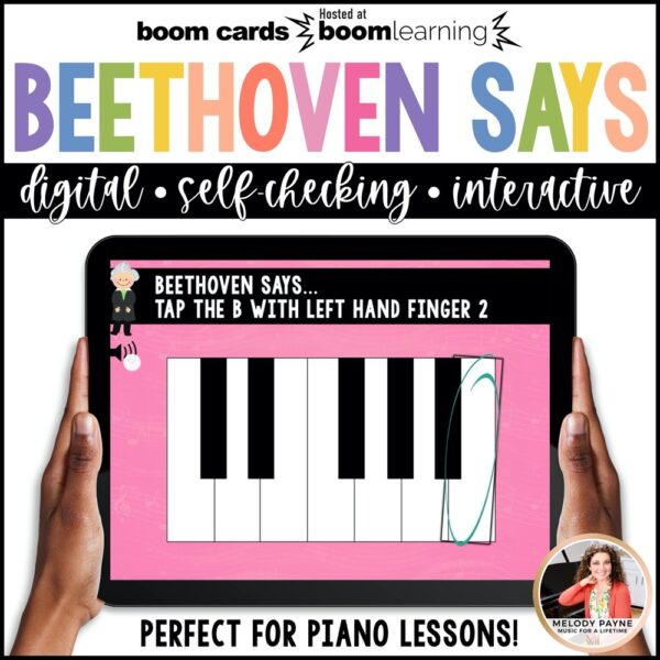 BOOM Cards: Beethoven Says! Piano Keys & Finger Numbers by Melody Payne