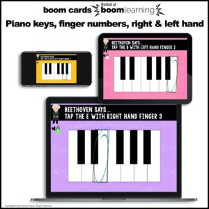 BOOM Cards: Beethoven Says! Piano Keys, Finger Numbers, Right & Left Hand