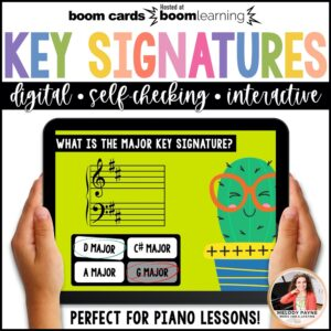 Key Signatures BOOM Cards for piano lessons by Melody Payne